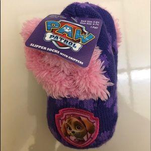 Paw Patrol Slipper Socks w/ Grippers Faux Fur NWT